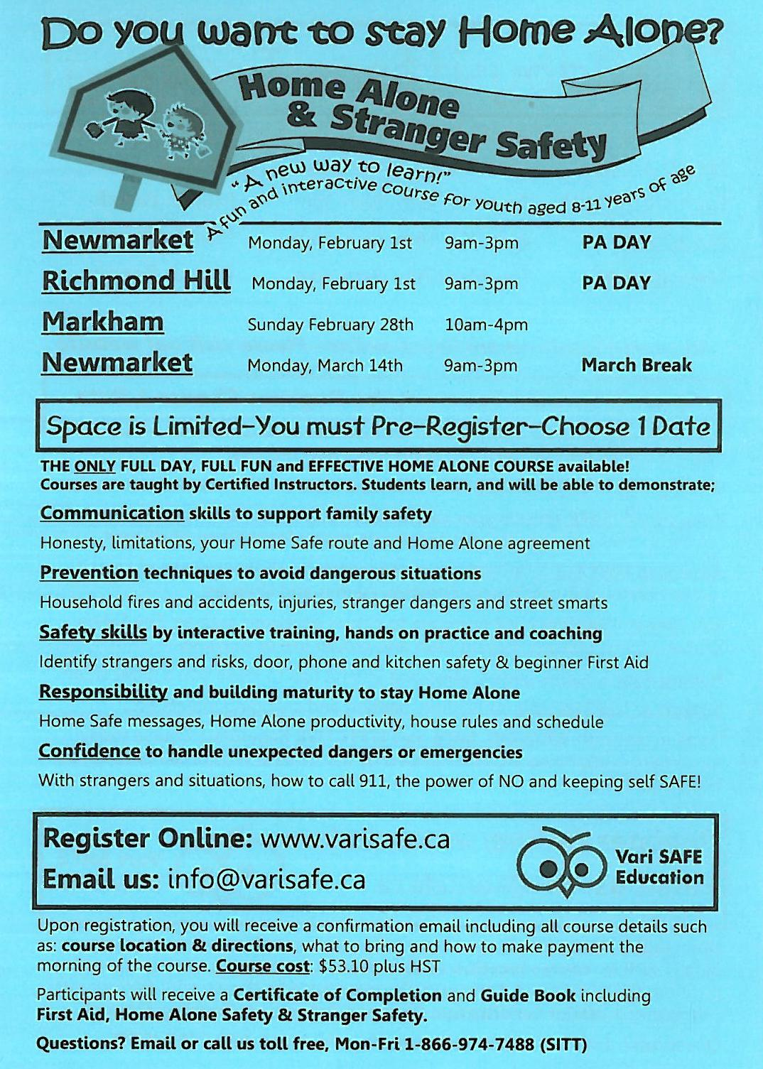 Home Alone and Babysitters Training Courses – Herbert H. Carnegie P. S.