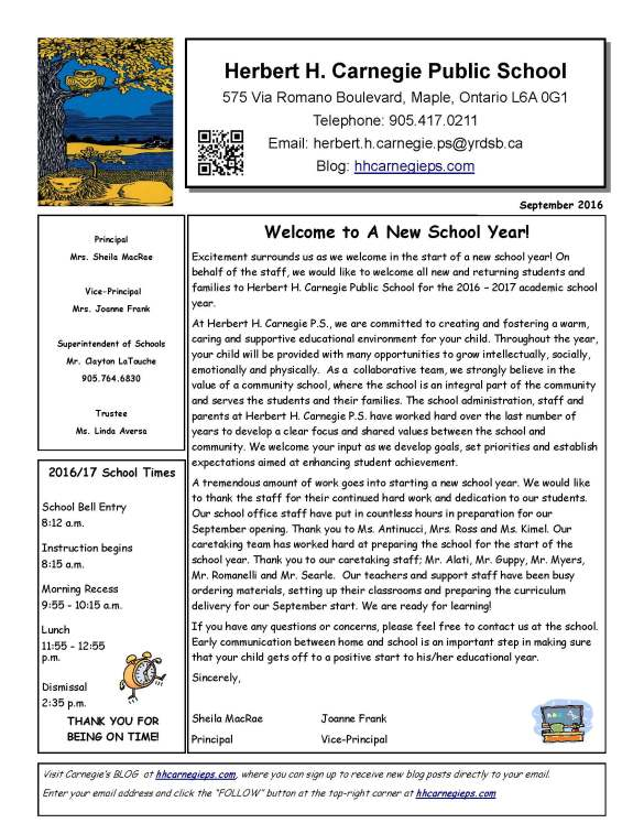 September  School Newsletter  Herbert H Carnegie P S