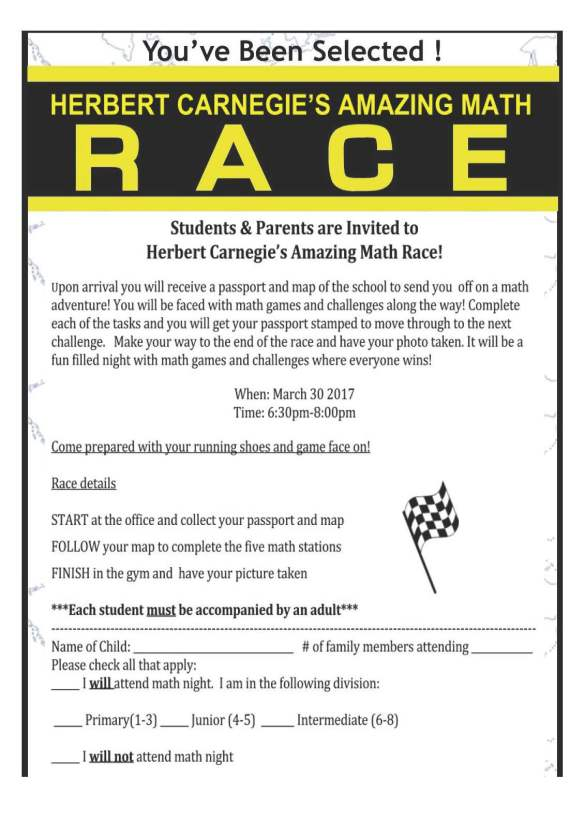Amazing Math Race Night
