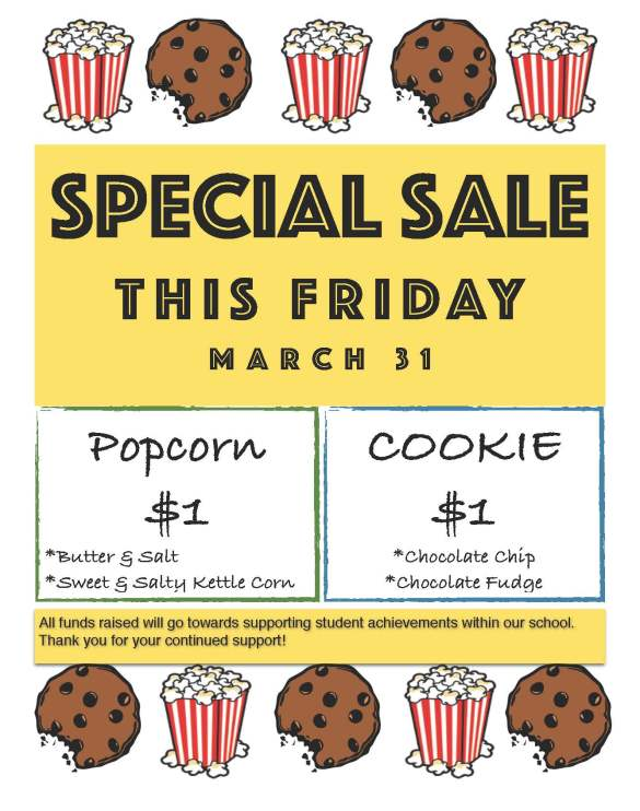Cookie_Popcorn Sale - 03-31-17