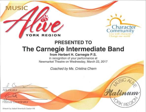 Music Alive Certificate - 03-22-17