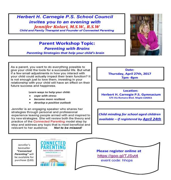 Jennifer Kolari Parent Workshop at Carnegie FLYER