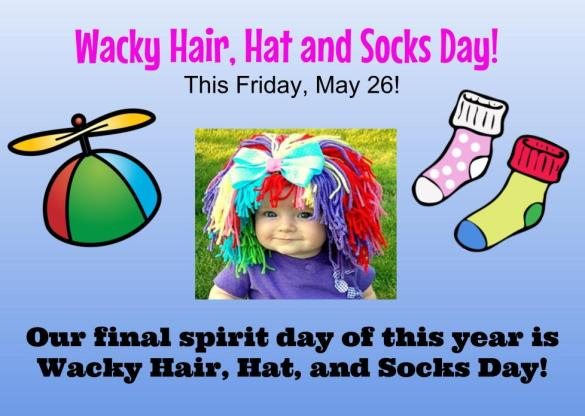 Wacky hair, hat and sock day