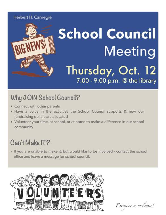 School Council Meeting Flyer - October 2017