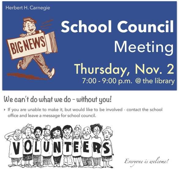 School Council Meeting Reminder - November 2017
