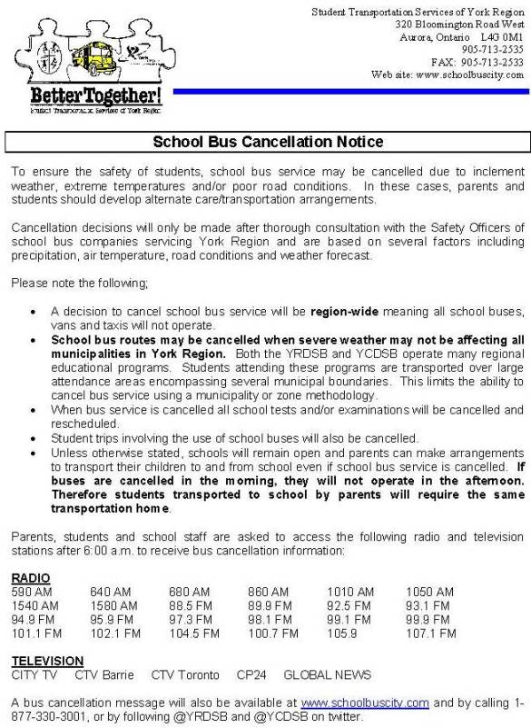 YRDSB Bus Cancellation Notice for Schools and Parents - November 2017