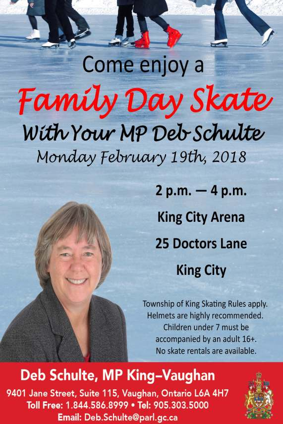 MP Deb Schulte Family Day Skate 2018 Invitation FINAL